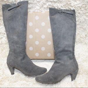 Tsubo Faline Gray Suede Knee High Zip Up Heel Boot